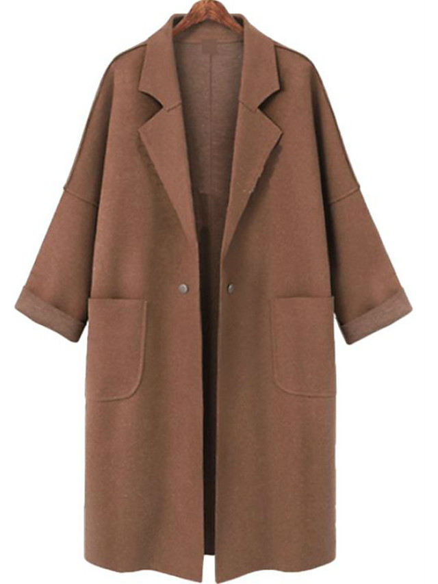 Women's Fall & Winter Double Breasted Coat Long Solid Colored Daily Basic Light Brown Dark Gray L XL XXL 3XL