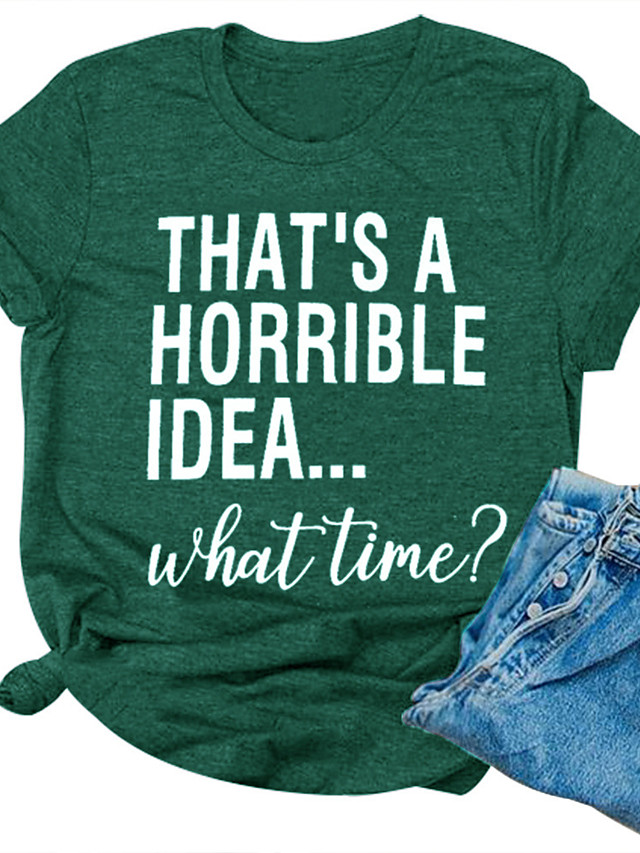 Women's T-shirt Letter Print Round Neck Tops Cotton Casual Basic Basic Top Green