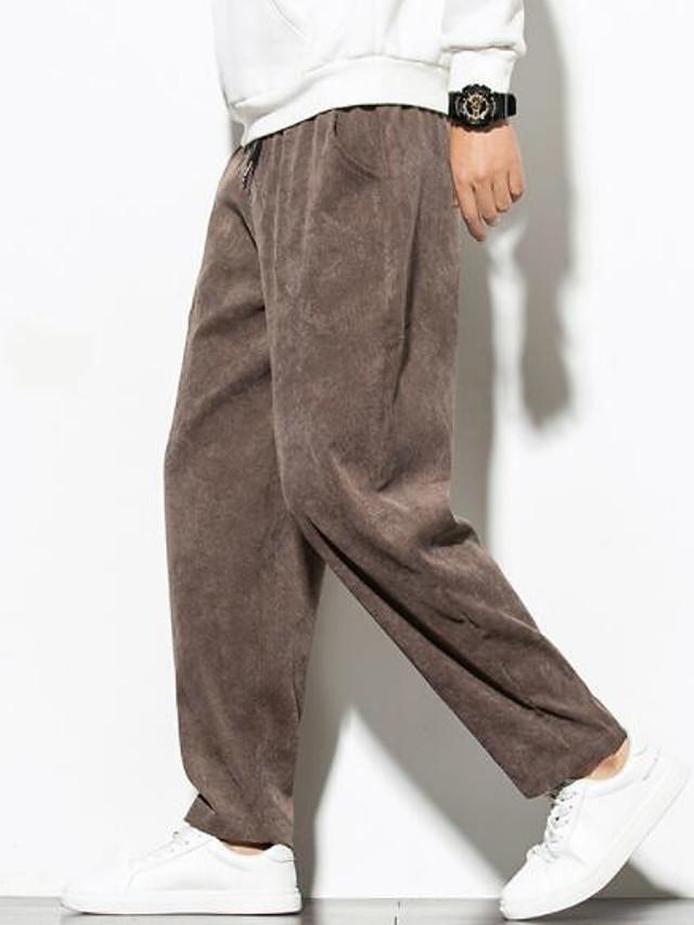 Men's School Pants Solid Color Black Brown Gray M L XL / Skinny