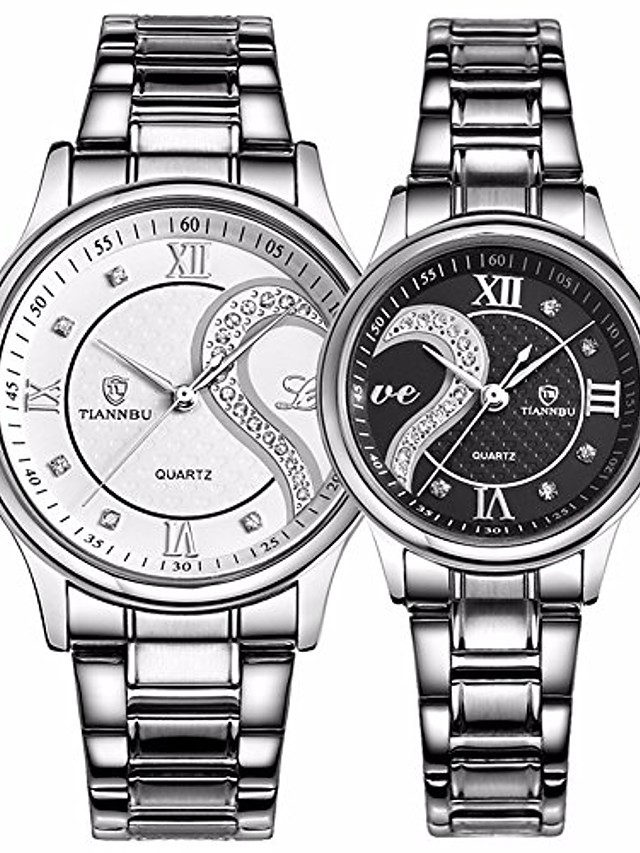 romantic his and hers watches - fq102 stainless steel pair hearts wristwatches for men women set of 2