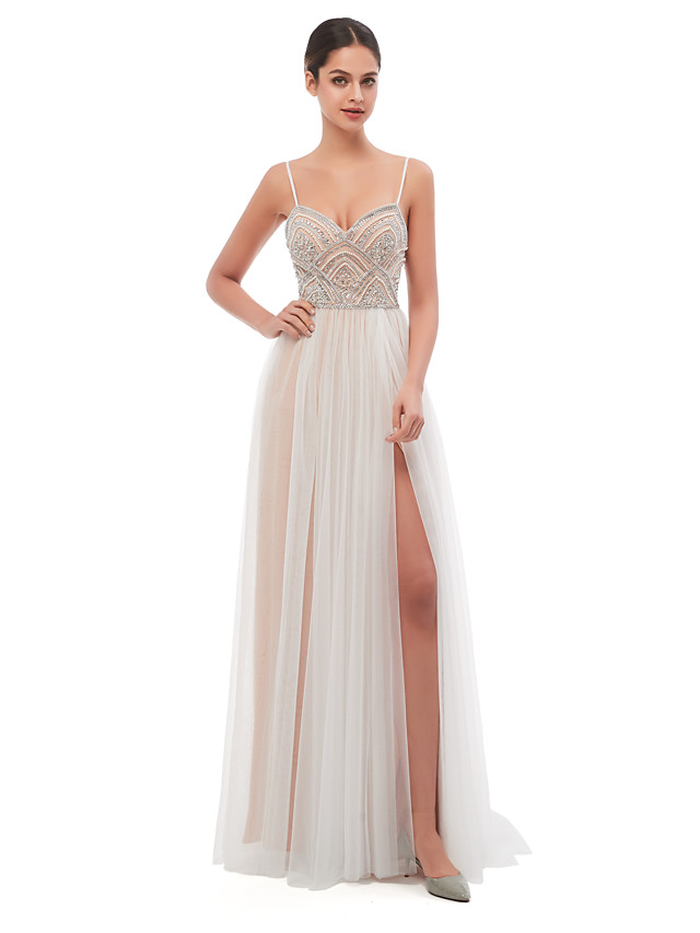 A-Line Celebrity Style Sexy Engagement Formal Evening Dress Spaghetti Strap Sleeveless Court Train Tulle with Pearls Beading 2020