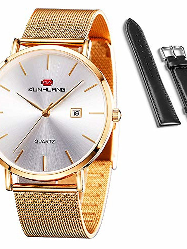 kunhuang men's watches ultra-thin designed dress watches and casual watches for men & women, quartz analog date wrist watches with both stainless steel mesh band and leather strap