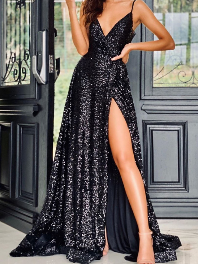 A-Line Glittering Sexy Wedding Guest Formal Evening Dress V Neck Sleeveless Sweep / Brush Train Sequined with Sequin Split 2020