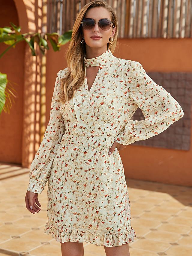 Women's Shift Dress Short Mini Dress - Long Sleeve Floral Ruffle Print Fall Winter Halter Neck Casual Going out Lantern Sleeve Chiffon 2020 Beige S M L XL