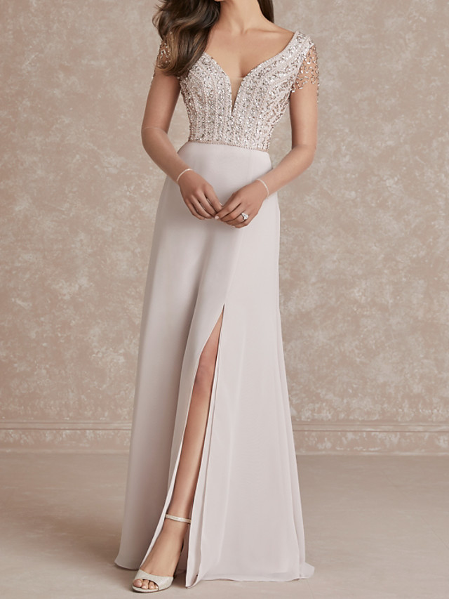 A-Line Glittering Sexy Engagement Formal Evening Dress V Neck Short Sleeve Sweep / Brush Train Chiffon with Sequin Split 2020