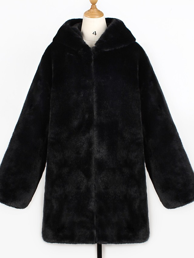 Women's Fall & Winter Open Front Coat Long Solid Colored Daily Basic Faux Fur Black S M L XL / Loose