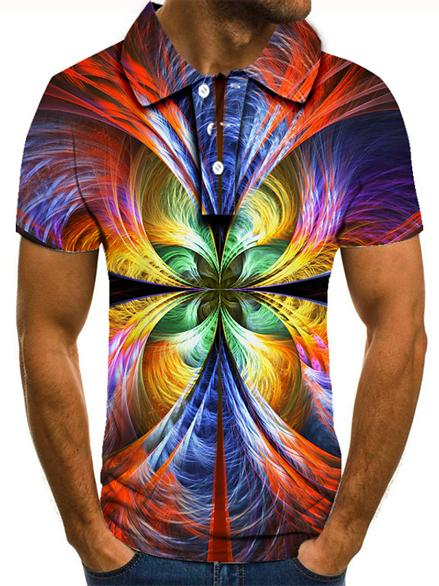 Men's Golf Shirt 3D Print Graphic Print Short Sleeve Daily Tops Personalized Basic Vacation Holiday Rainbow