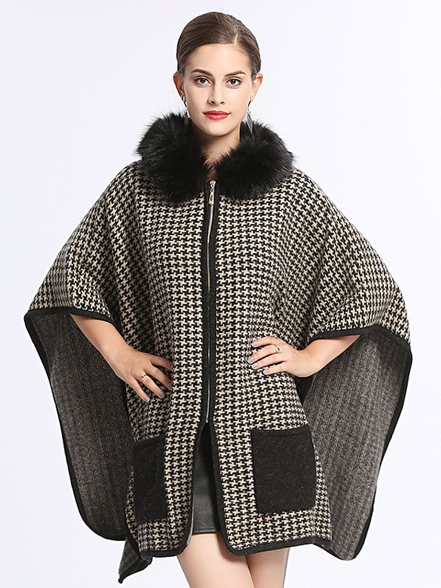 Women's Fall & Winter Zipper Cloak / Capes Regular Houndstooth Daily Basic Fur Trim Black One-Size / Loose / Batwing Sleeve