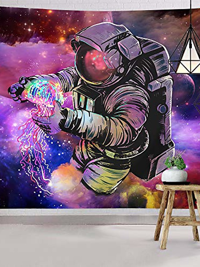 trippy astronaut tapestry wall hanging fantasy galaxy tapestry hippie wall art colorful space wall tapestry home decor