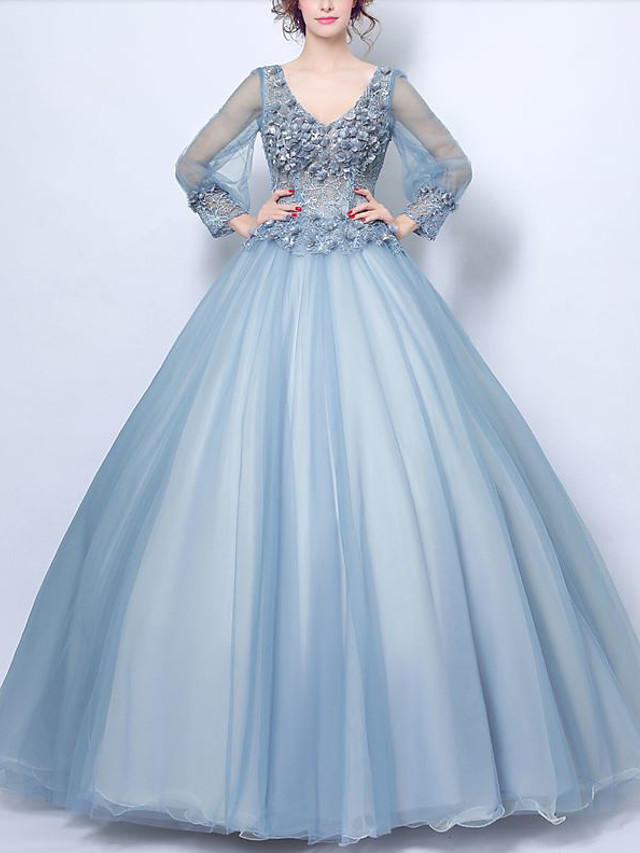 Ball Gown Elegant Floral Quinceanera Formal Evening Dress V Neck Long Sleeve Floor Length Tulle with Beading Appliques 2020