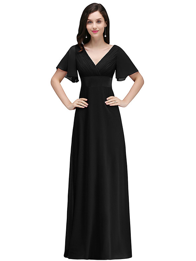 A-Line Elegant Minimalist Party Wear Formal Evening Dress V Neck Short Sleeve Floor Length Chiffon with Ruffles 2020