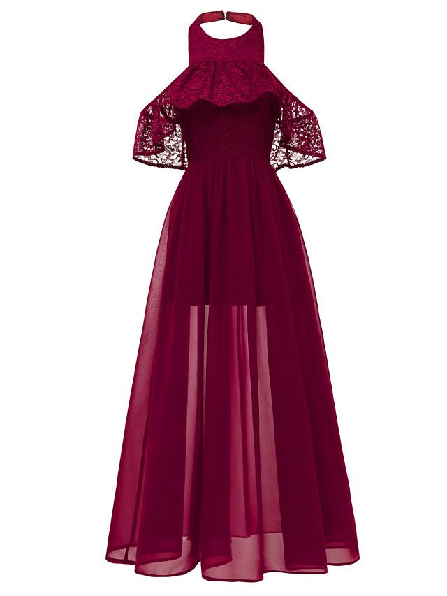 A-Line Elegant Minimalist Party Wear Formal Evening Dress Halter Neck Short Sleeve Floor Length Chiffon with Ruffles 2020