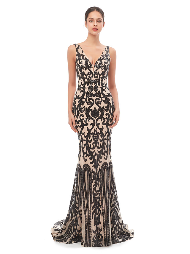 Mermaid / Trumpet Celebrity Style Sexy Prom Formal Evening Dress V Neck Sleeveless Court Train Tulle Sequined with Sequin 2020