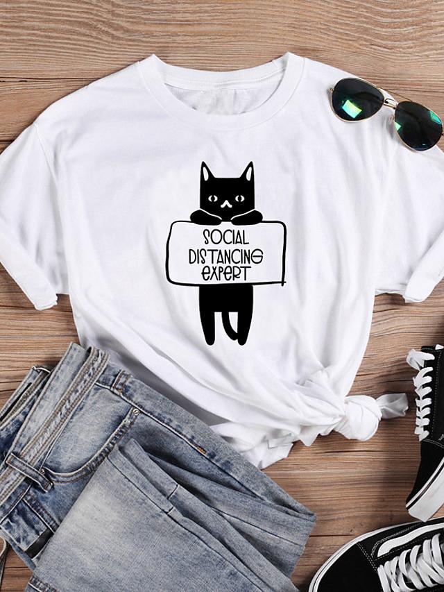 Women's T-shirt Cat Graphic Prints Letter Print Round Neck Tops 100% Cotton Basic Basic Top White Black Purple