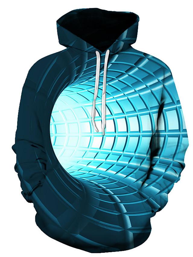 Men's Pullover Hoodie Sweatshirt 3D Graphic Hooded Daily Basic Hoodies Sweatshirts  Long Sleeve Blue Purple Red