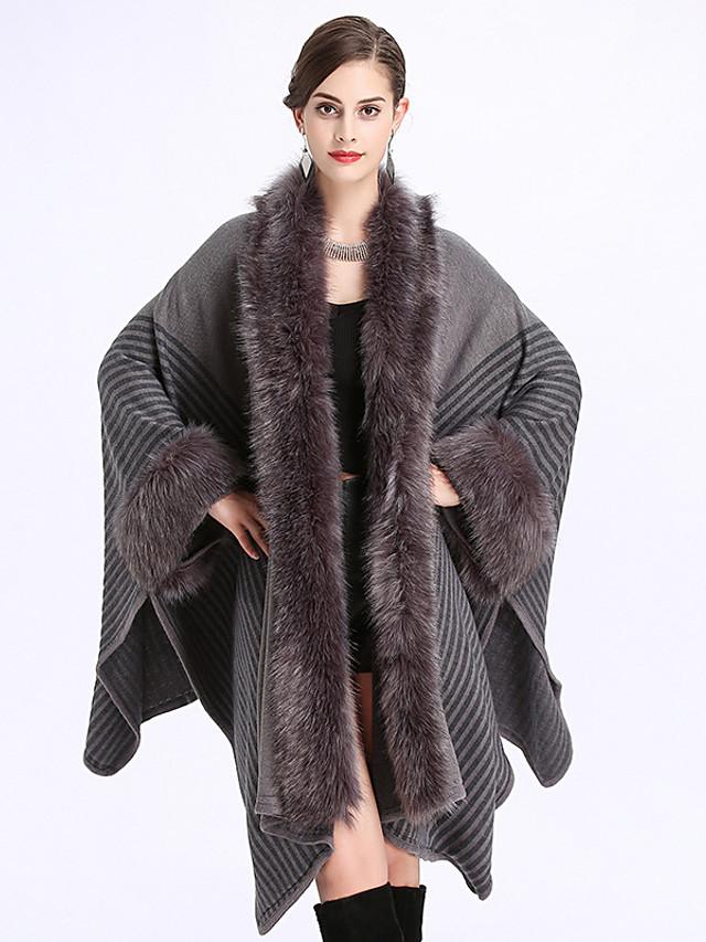 Women's Fall & Winter Shawl Lapel Cloak / Capes Long Striped Daily Basic Faux Fur Black Khaki Gray One-Size
