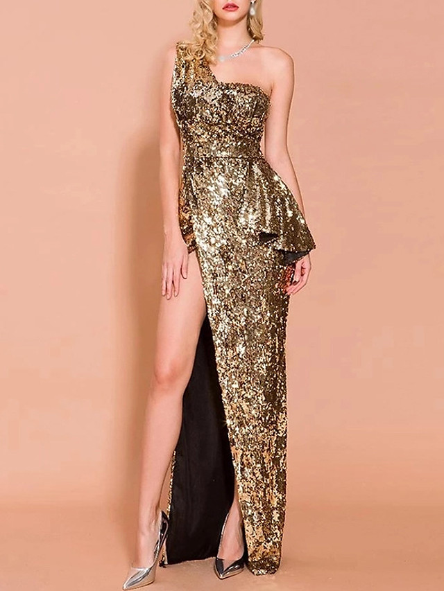 A-Line Sexy Sparkle Party Wear Formal Evening Dress One Shoulder Sleeveless Floor Length Spandex with Sequin Split 2020