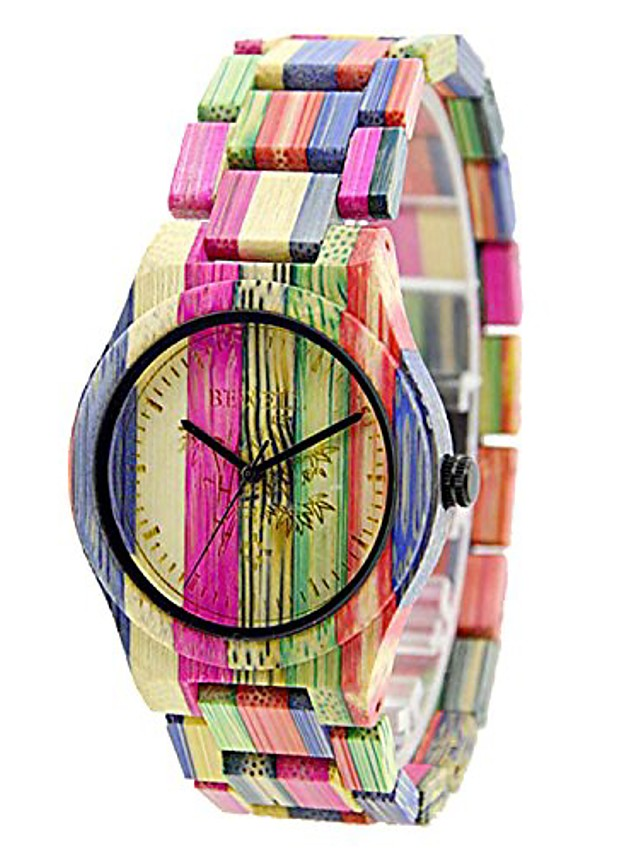 bewell handmade colorful bamboo watch analog quartz lightweight wristwatch with mix colors