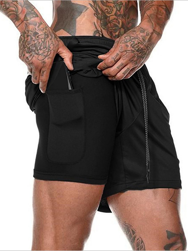 Men's Active Basic Outdoor Sports Activewear Outdoor Shorts Pants Solid Colored 2 in 1 Fake two piece Drawstring White Black Army Green M L XL