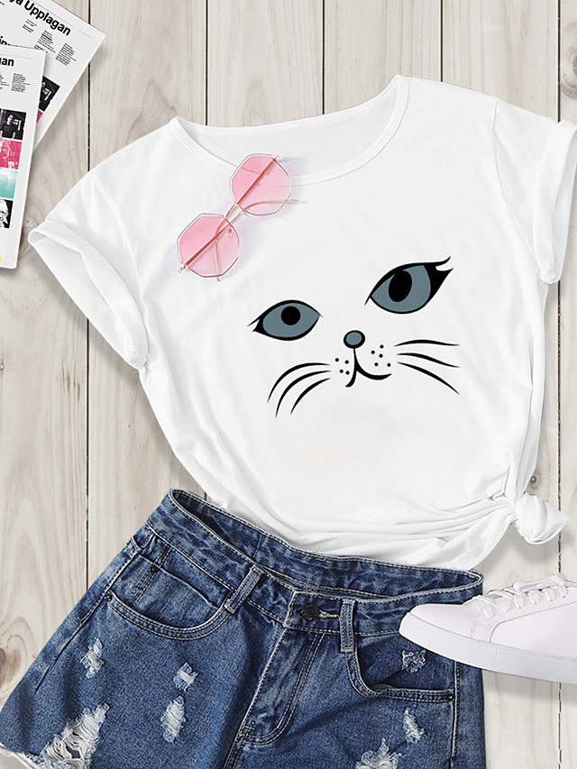 Women's Going out T-shirt Cat Print Round Neck Tops Basic Basic Top White