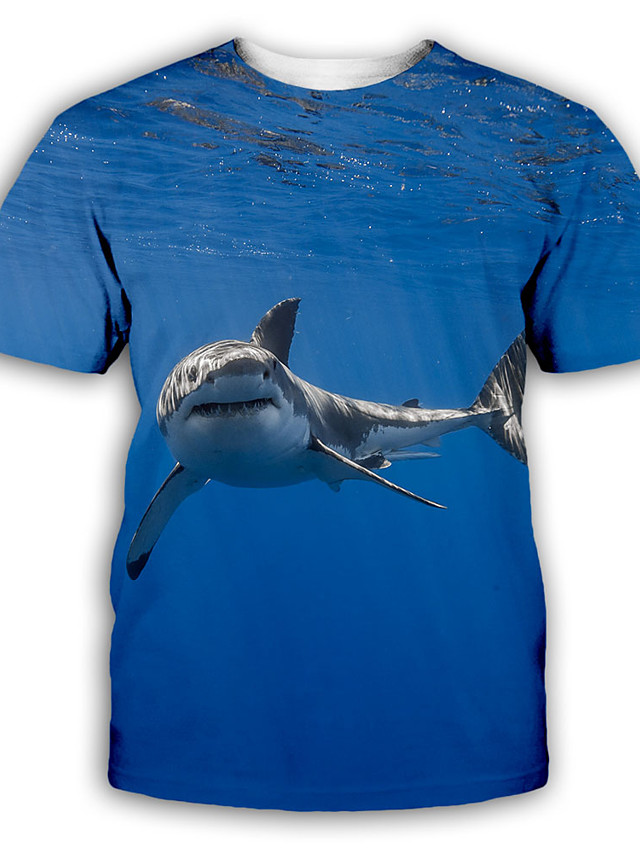 Men's T shirt 3D Print Graphic Print Short Sleeve Party Tops Exaggerated Blue
