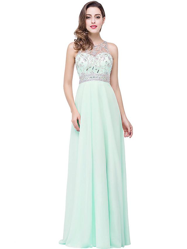 A-Line Elegant Minimalist Engagement Formal Evening Dress Illusion Neck Sleeveless Floor Length Chiffon with Pleats Crystals 2020