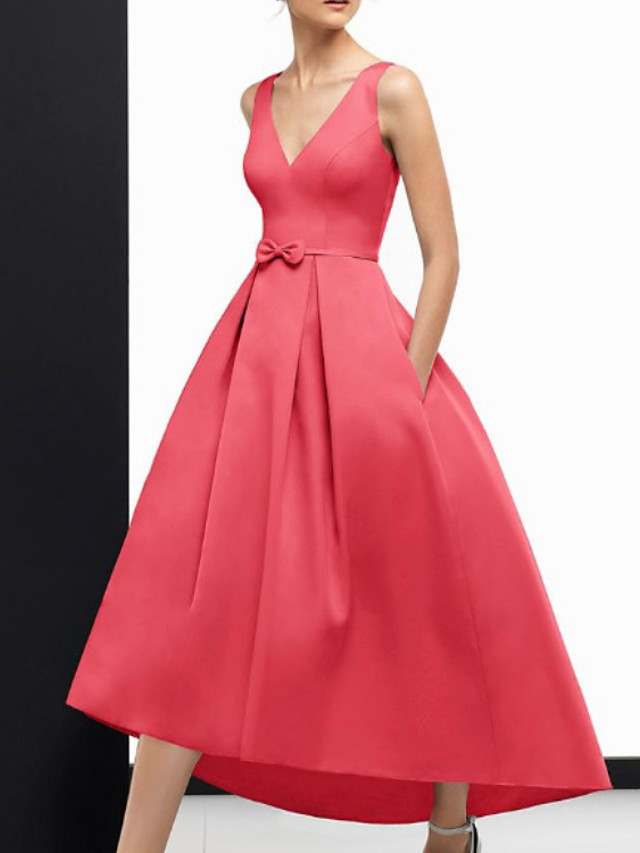 A-Line Vintage Sexy Wedding Guest Formal Evening Dress V Neck Sleeveless Ankle Length Satin with Sleek Bow(s) 2020