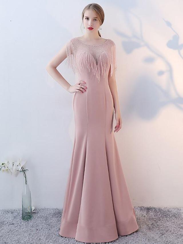 Mermaid / Trumpet Elegant Minimalist Wedding Guest Formal Evening Dress Illusion Neck Sleeveless Floor Length Spandex with Crystals Tassel 2020