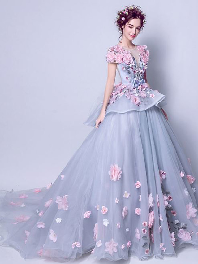 Ball Gown Elegant Floral Engagement Formal Evening Dress Jewel Neck Short Sleeve Court Train Tulle with Embroidery Appliques 2020