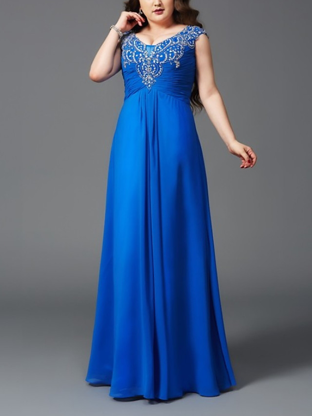 A-Line Elegant Plus Size Wedding Guest Formal Evening Dress V Neck Sleeveless Floor Length Chiffon with Ruched Appliques 2020