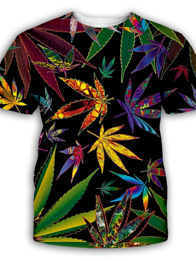 Men's T shirt 3D Print Graphic Print Short Sleeve Party Tops Exaggerated Rainbow