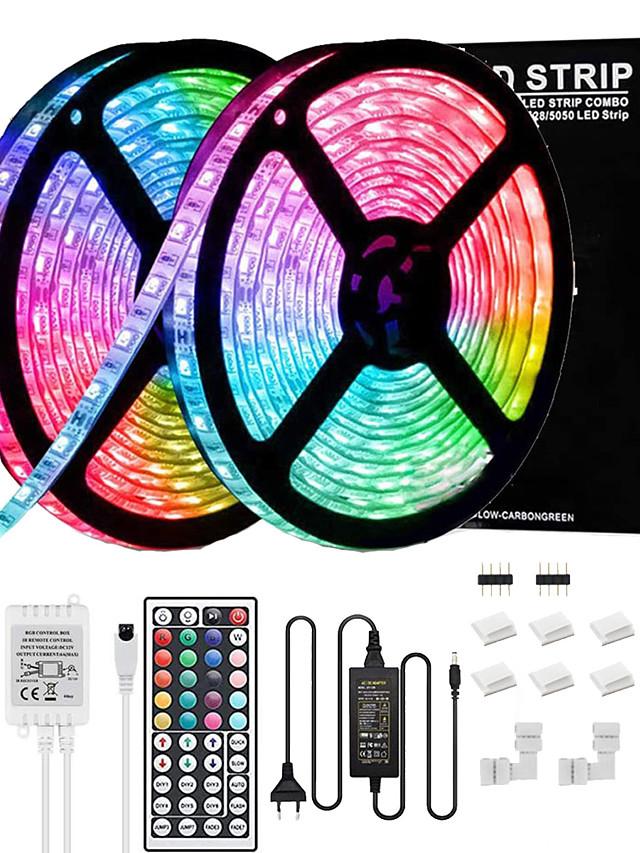 kit de lumières de bande led bande lumineuse rgb de 32.8ft avec télécommande et clips de support pour chambre à coucher maison armoire de cuisine décoration de fête adaptateur 12v 6a non étanche