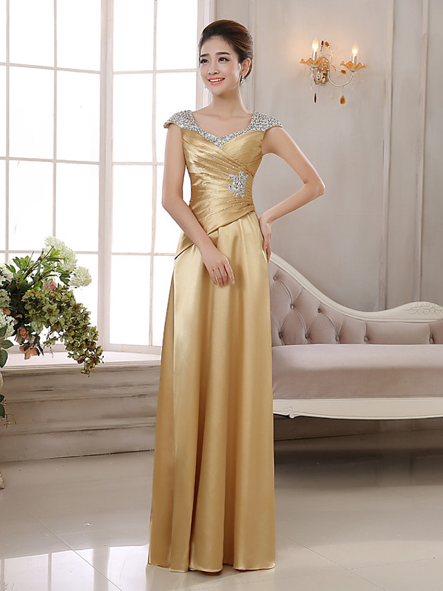 Sheath / Column Elegant Glittering Wedding Guest Formal Evening Dress V Neck Sleeveless Floor Length Charmeuse with Ruched Crystals 2020