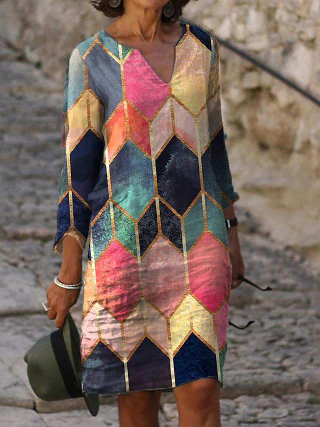 Women's Sheath Dress Knee Length Dress 3/4 Length Sleeve Color Block Print Spring &  Fall Hot Elegant vacation dresses 2021 Rainbow M L XL XXL 3XL