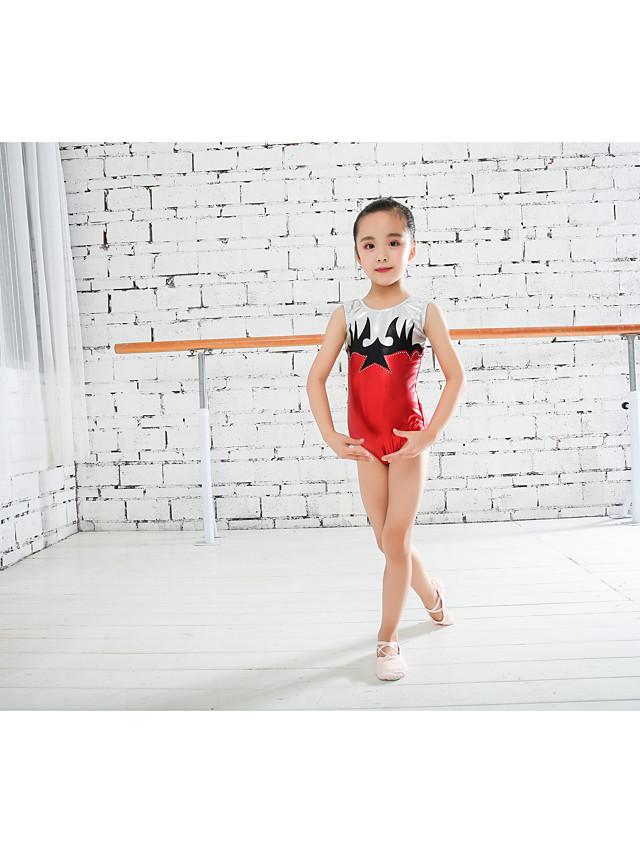 Rhythmic Gymnastics Leotards Gymnastics Leotards Boys' Girls' Kids Dancewear Stretchy Handmade Sleeveless Training Dance Rhythmic Gymnastics Athletic Artistic Gymnastics Red