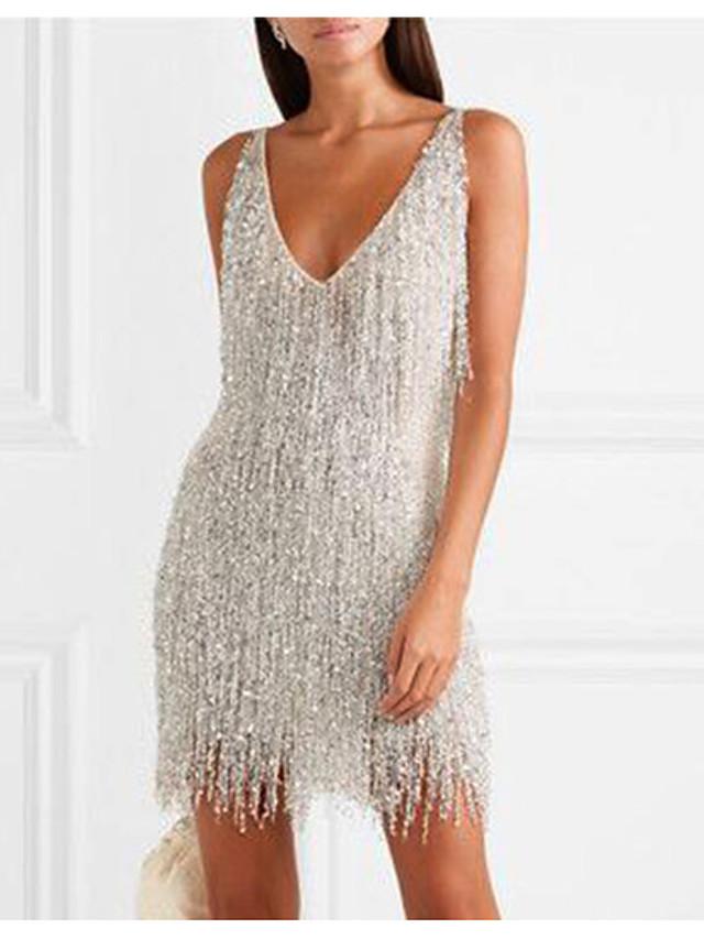 Women's Sheath Dress Short Mini Dress Silver Sleeveless Solid Color Backless Tassel Fringe Spring Summer Elegant Sexy 2021 S M L XL XXL