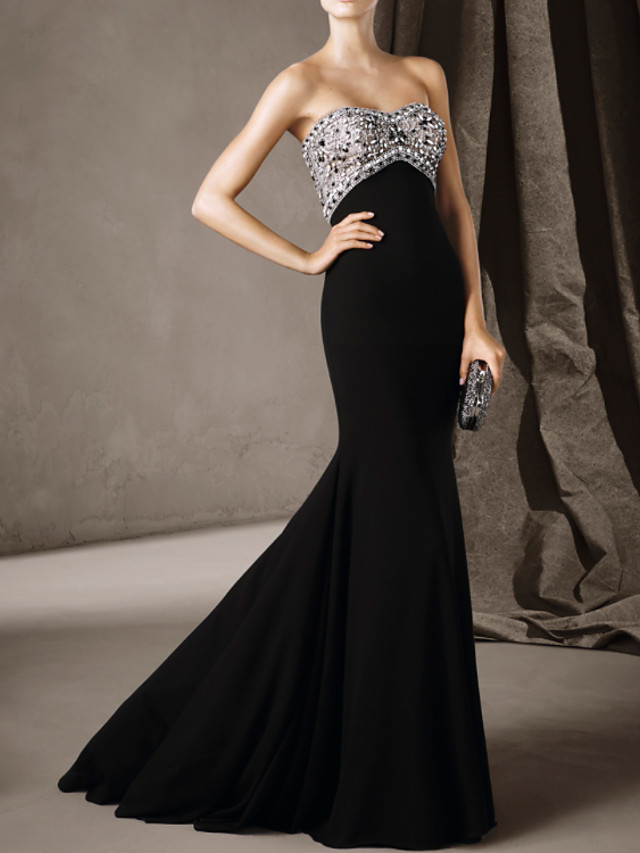 Mermaid / Trumpet Luxurious Sexy Engagement Formal Evening Dress Sweetheart Neckline Sleeveless Court Train Stretch Satin with Beading 2020