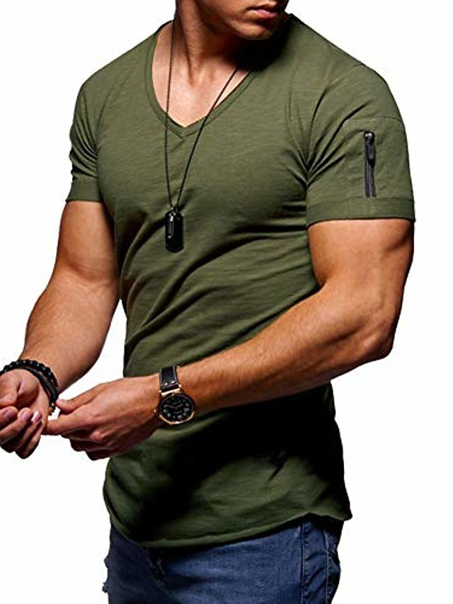 mens v neck t shirt tee - solid color short shirts for men short sleeve slim fitness workout athletic business casual basic big tall shirts black gray army green