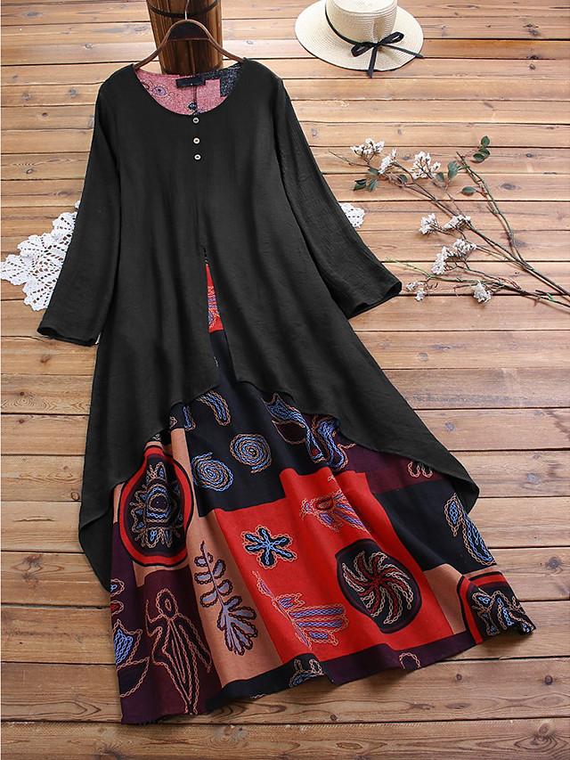 Women's Plus Size Swing Dress Maxi long Dress Black Orange Long Sleeve Print Patchwork Fall Summer Round Neck Hot Casual 2021 L XL XXL 3XL 4XL 5XL