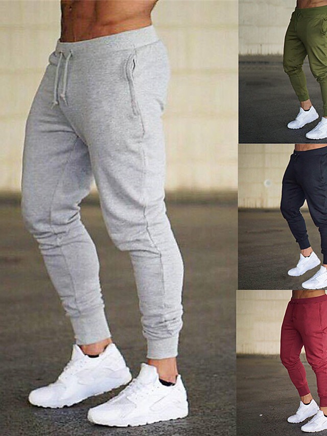 Men's Sweatpants Joggers Athletic Bottoms Drawstring Basic Tapered Fitness Gym Workout Performance Running Training Breathable Soft Sweat wicking Normal Sport Solid Colored Dark Grey Black Blue Red