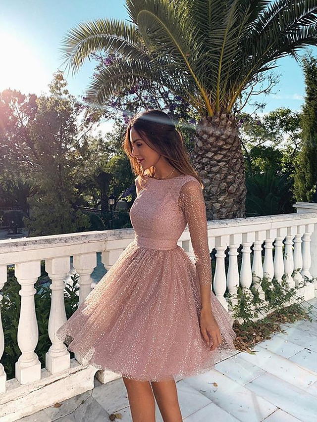 Women's A Line Dress Knee Length Dress Blushing Pink Long Sleeve Solid Color Backless Sequins Zipper Fall Spring Round Neck Hot Sexy Party 2021 S M L XL XXL