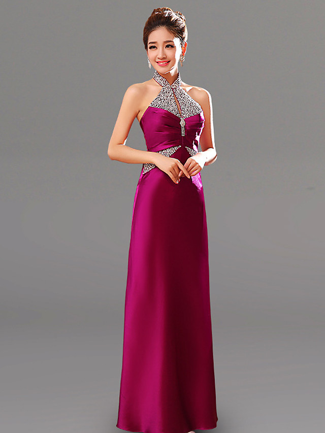 A-Line Elegant Minimalist Wedding Guest Formal Evening Dress Halter Neck Sleeveless Floor Length Charmeuse with Ruched Crystals 2020