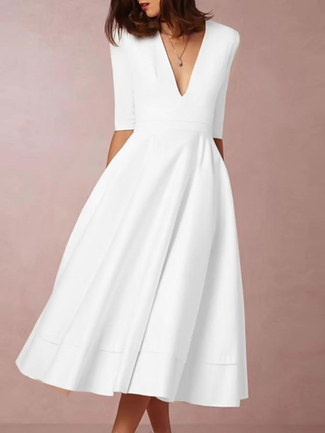 Women's Swing Dress Midi Dress Half Sleeve Hot White S M L XL XXL 3XL
