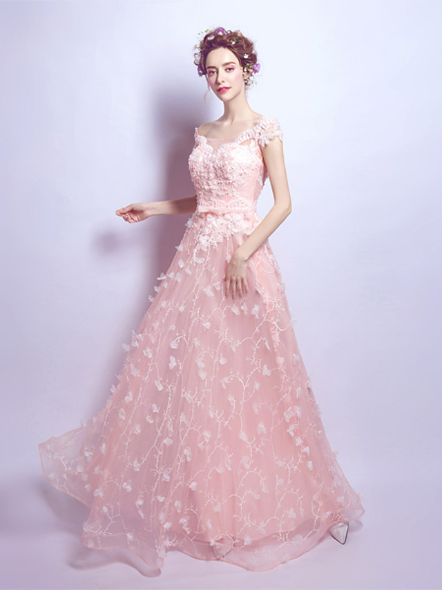 A-Line Elegant Floral Wedding Guest Formal Evening Dress Scoop Neck Short Sleeve Floor Length Organza with Beading Appliques 2020