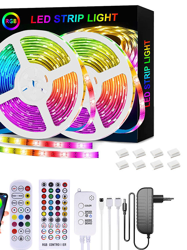 LED Strip Lights RGB 65.6ft -20M 32.8ft-10M Tape Light SMD5050  Music Sync Color Changing  Bluetooth Controller  24Key Remote Control or 40Key Remote Control Decoration forHome TV Party - APP