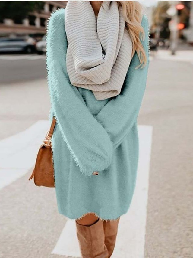 Жен. Платье A-силуэта Платье до колена - Длинный рукав Сплошной цвет Пэчворк Осень Зима Для офиса На каждый день горячий Свободный силуэт 2020