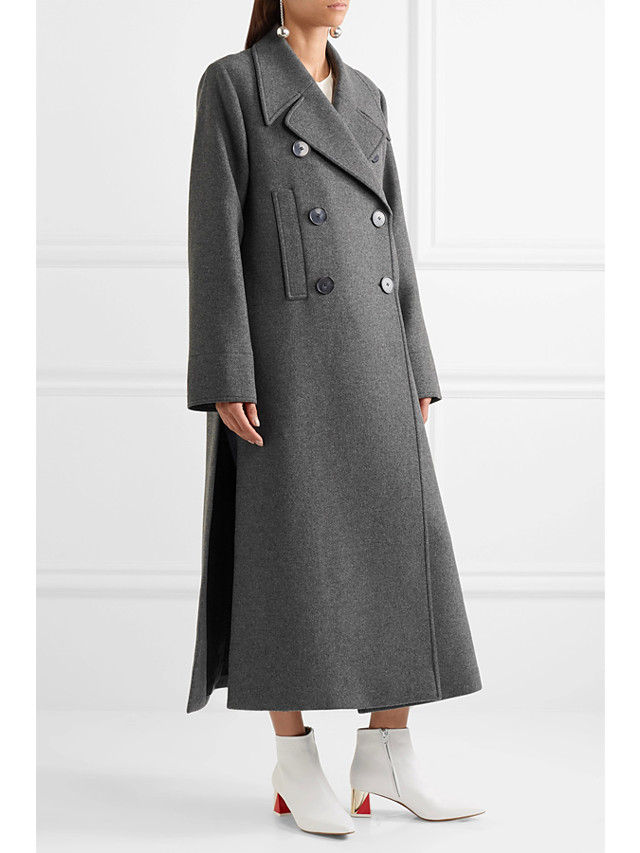 Women's Fall & Winter Double Breasted Coat Long Solid Colored Daily Basic Wool Dark Gray XS S M L / Loose