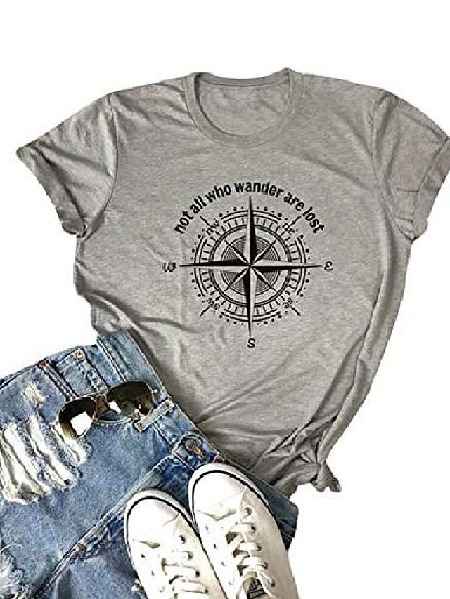 women compass vintage graphic tee not all who wander are lost print shirt baseball casual tops & # 40; e-gray, 2xl& #41;