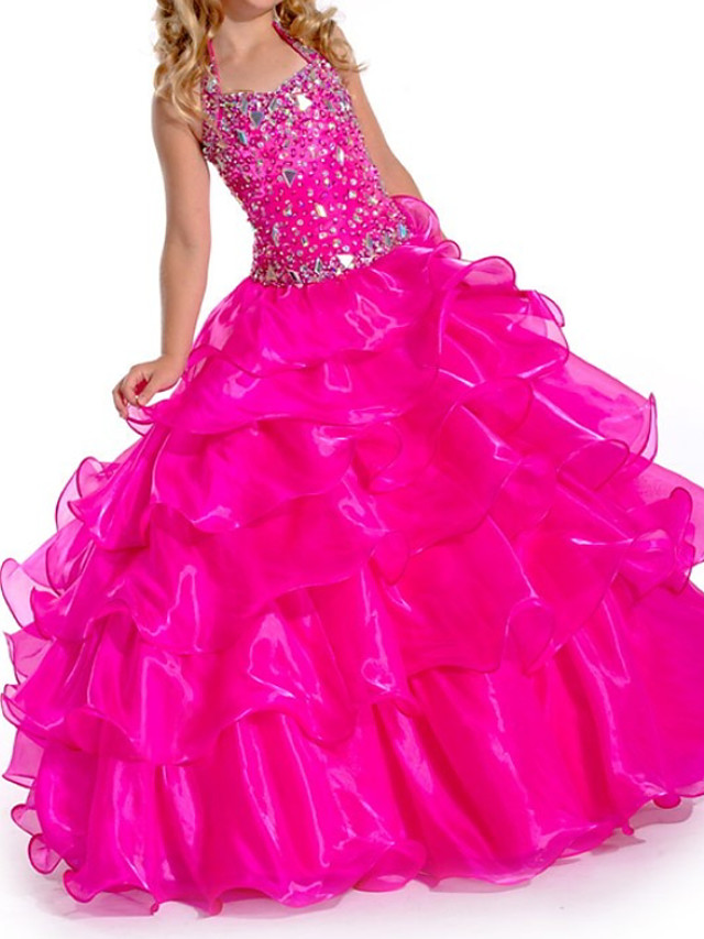 Ball Gown V Neck Floor Length Organza Bridesmaid Dress with Tier