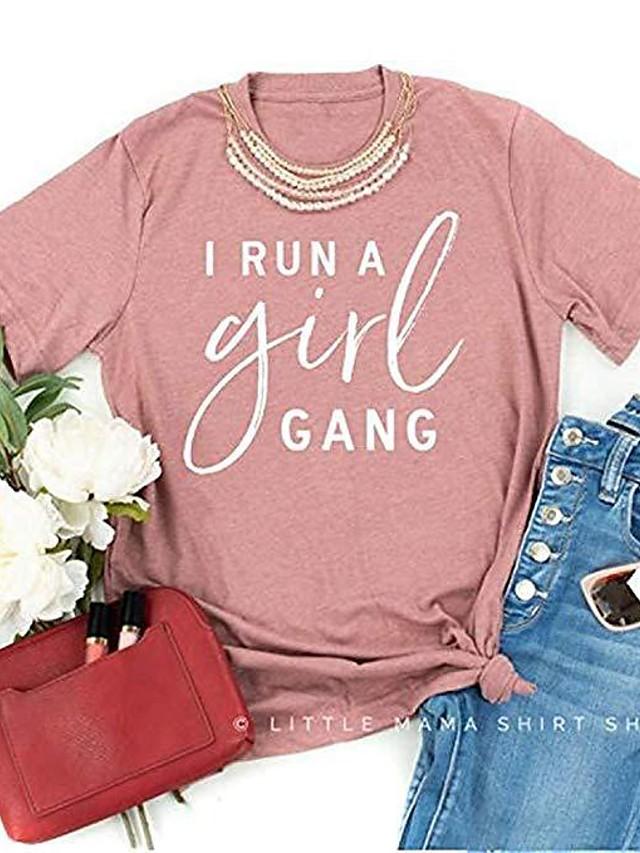 Women's T-shirt Letter Print Round Neck Tops Basic Basic Top Blushing Pink